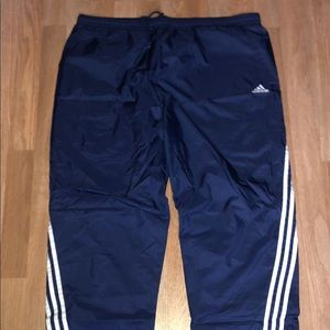 Adidas Navy Nylon 3 Striped Track Pants Size Large